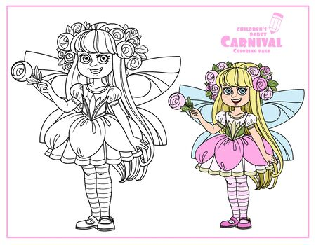 Cute girl in fairy with pink flowers costume color and outlined for coloring page