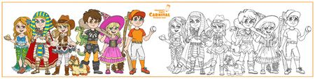 Children in carnival costumes baseball player, mermaid, cowgirl, egyptian pharaoh, caveman, witch characters color and outlined for coloring page