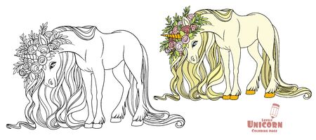 Fairytale unicorn in a wreath of roses color and outlined picture for coloring book on white background