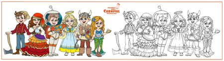 Children in carnival costumes fortune teller, astronaut, lumberjack, viking, mermaid, angel characters color and outlined for coloring page