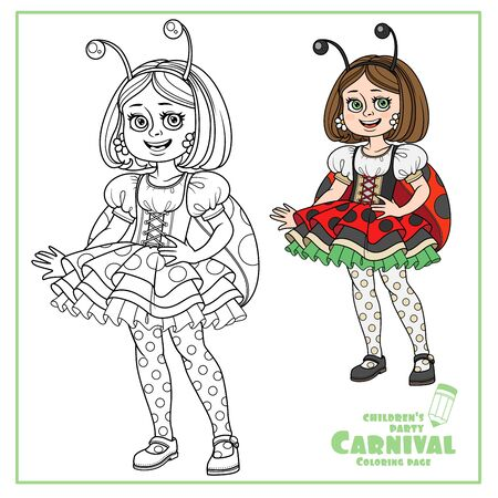 Cute girl in carnival costume of ladybug color and outlined for coloring page Illustration