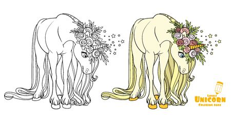Fairytale unicorn looking down color and outlined picture for coloring book on white background