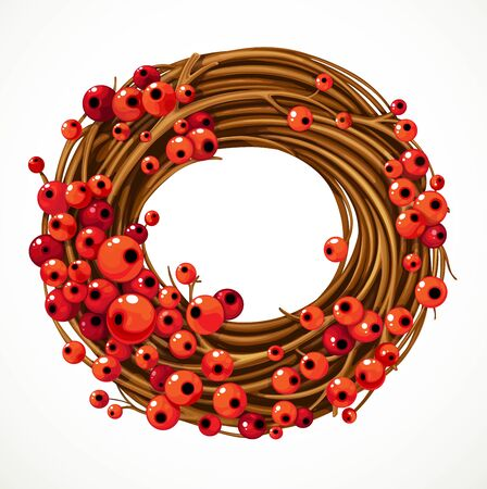 Christmas wreath with red berries for decoration isolated on white background Illusztráció