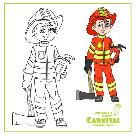 Cute boy in firefighter suit in helmet with an ax and a fire extinguisher color and outlined for coloring page