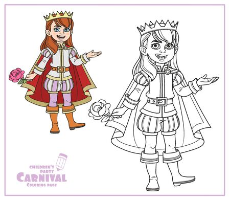Cute boy in a prince suit color and outlined for coloring page Illustration