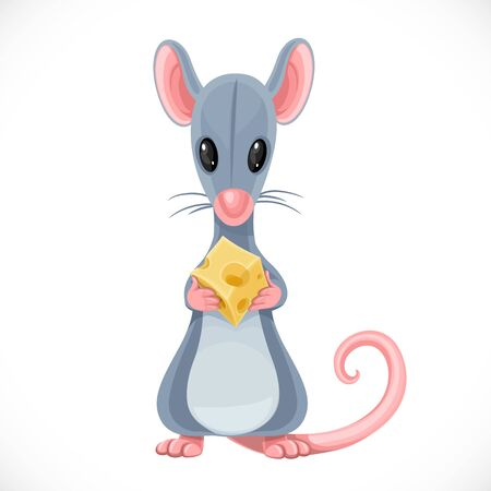 Cute cartoon toy gray rat hold piece of cheese isolated on white background Illustration