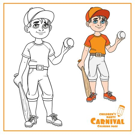 Cute boy in baseball suit with ball and bat cplpr and outlined for coloring page