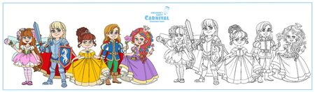 Children in carnival costumes of the fairy,prince, princess and knight color and outlined for coloring page Illustration