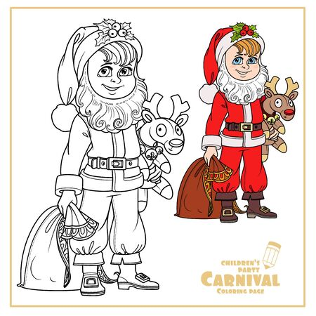 Cute boy in Santa costume with a bag of gifts and plush deer color and outlined for coloring page Illustration