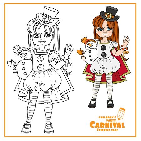 Cute girl in carnival costume snowman in cylinder and red cloak and with a toy in hand color and outlined for coloring page Illustration