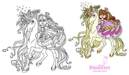 Beautiful princess rides on the back of a unicorn in a wreath of roses color and outlined picture for coloring book on white background Illustration