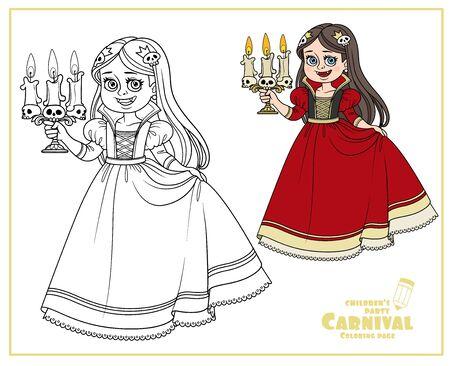 Jolie fille en costume de carnaval vampire avec un chandelier en couleur à la main et décrite pour la page de coloriage Vecteurs