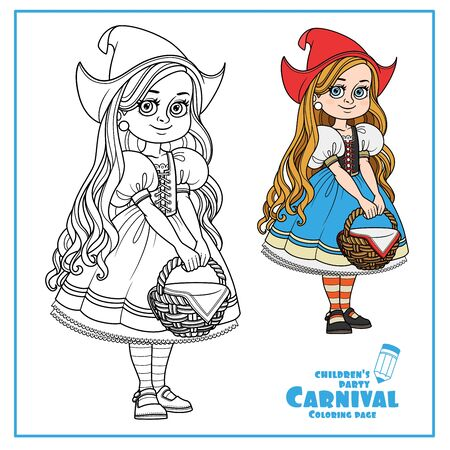 Cute girl in red cap costume with a basket in her hands costume color and outlined for coloring page