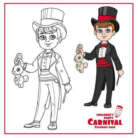 Cute boy in magician costume with a hare and magic wand color and outlined for coloring page
