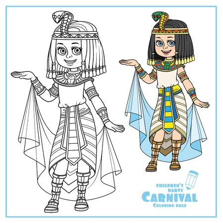 Cute girl in Egyptian princess costume color and outlined for coloring page