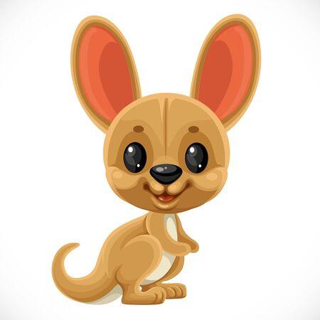 Cute cartoon toy kangaroo isolated on white background  イラスト・ベクター素材