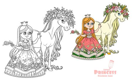 Beautiful princess with magical unicorn in a magnificent wreath of roses color and outlined picture for coloring book on white background