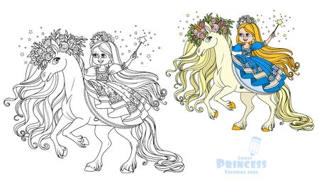 Princess with a magic wand sitting on a magic unicorn color and outlined picture for coloring book on white background
