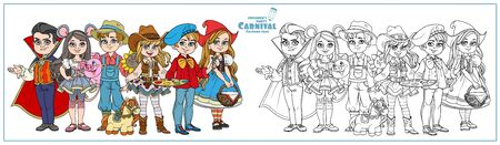 Children in carnival costumes vampire, artist, cowgirl, farmer, Little Red Riding Hood, mouse characters color and outlined for coloring page