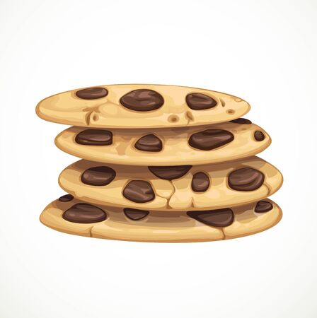 Homemade chocolate chip cookie isolated on a white background