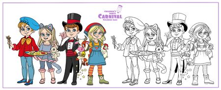 Children in carnival costumes of theartist, magician, cat and farmer girl color and outlined for coloring page