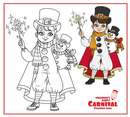 Cute boy in carnival costume snowman in top hat and red cloak and with a toy in hand color and outlined for coloring page