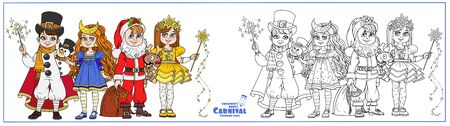Children in carnival costumes Christmas characters Santa Claus,Star, Christmas night, snowman color and outlined for coloring page