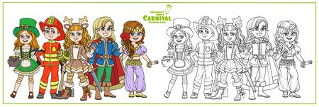 Children in carnival costumes of the Leprechaun, handsome prince, deer, oriental dancer, fireman color and outlined for coloring page Illustration