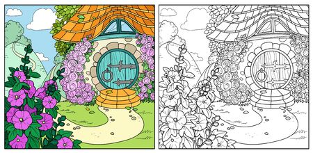 Summer fairy tale home with flowers color and outlined isolated on a white background