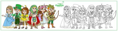 Children in carnival costumes princess, robin hood, egyptian pharaoh, unicorn, bee, leprechaun characters color and outlined for coloring page