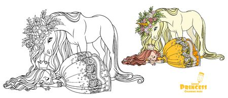 Little princess sleeping and a magical unicorn in large wreath of roses is looking at her color and outlined picture for coloring book on white background Ilustração