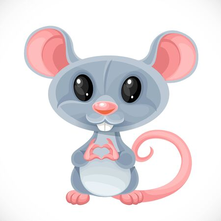 Cute cartoon toy gray rat fold a heart out of her fingers isolated on white background