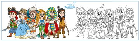 Children in carnival costumes of the pirate, princess, astronaut, mermaid, pharaoh, native american color and outlined for coloring page