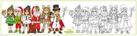 Children in carnival costumes Christmas characters Santa Claus, deer, Christmas tree, snowman, elf helper color and outlined for coloring page