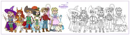 Children in carnival costumes wizard, egyptian queen, squirrel, lumberjack, puss in boots and shepherdess characters color and outlined for coloring page