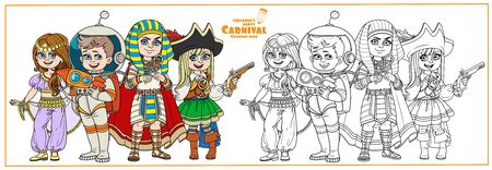Children in carnival costumes of the eastern dancer, astronaut, egyptian pharaoh, pirate color and outlined for coloring page