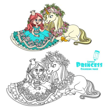 Princess with unicorn in a magnificent wreath of roses color and outlined picture for coloring book on white background Ilustração