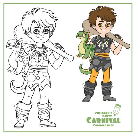 Cute boy in a suit of prehistoric man dinosaur toy and truncheons in hands color and outlined for coloring page