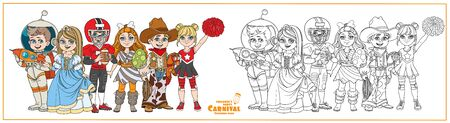 Children in carnival costumes princess, astronaut, prehistoric man, american football player, cowboy, cheerleader characters color and outlined for coloring page Illustration