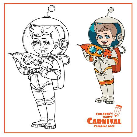 Cute boy in suit of an astronaut with a rocket in his hands color and outlined for coloring page