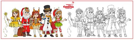 Children in carnival costumes Christmas characters Santa Claus,Squirrel, Christmas night, snowman, elf color and outlined for coloring page Ilustração