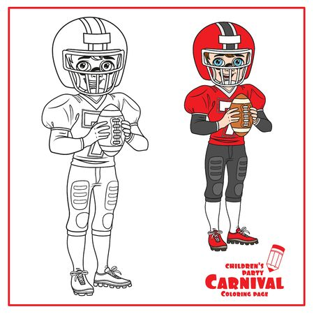 Cute boy in an American football suit with a ball in his hands color and outlined for coloring page Illustration