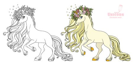 Magical unicorn in a magnificent wreath of roses standing on hind legs color and outlined picture for coloring book on white background Ilustração