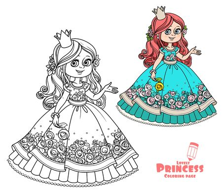 Princess with rose in hand color and outlined picture for coloring book on white background Çizim