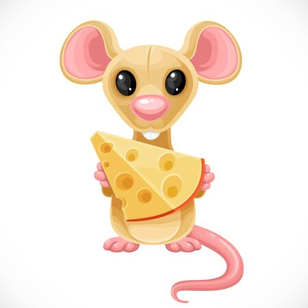 Cute cartoon toy beige rat hold piece of cheese isolated on white background