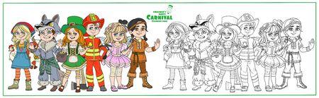 Niños en trajes de carnaval, granjero, hombre lobo, nativo americano, duende, hada, personajes de bombero colorean y delineados para colorear página
