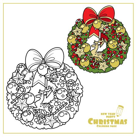 Christmas wreath with golden balls, deer figurine and striped candy color and outlined for coloring page