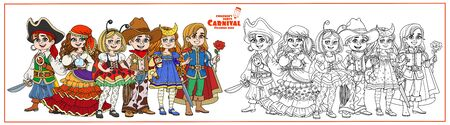 Children in carnival costumes pirate, fortune teller, prince, starry night, cowboy and ladybug characters color and outlined for coloring page