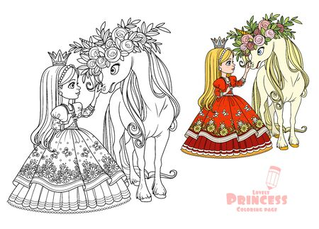 Princess with magical unicorn in a magnificent wreath of roses color and outlined picture for coloring book on white background