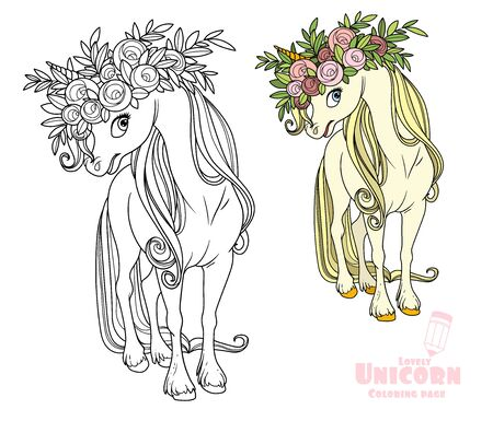 Magical unicorn in wreath of roses color and outlined picture for coloring book on white background  イラスト・ベクター素材